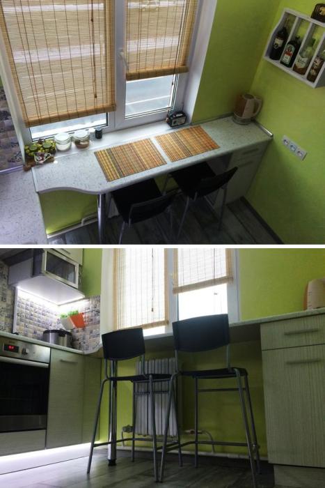 Столешница-барная стойка, установленная вместо подоконника и продленная до конца комнаты, превратилась в обеденную зону. | Фото: realty.tut.by.