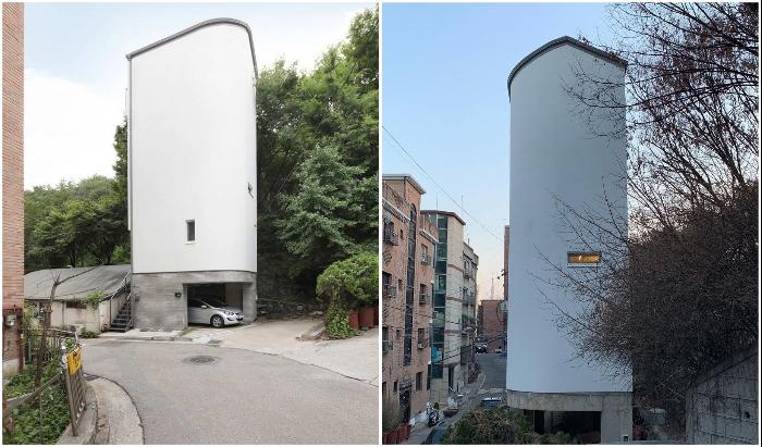 Странная форма здания и отсутствие окон на некоторых его сторонах обусловлены окружением и геометрией участка (Seroro House, Сеул).