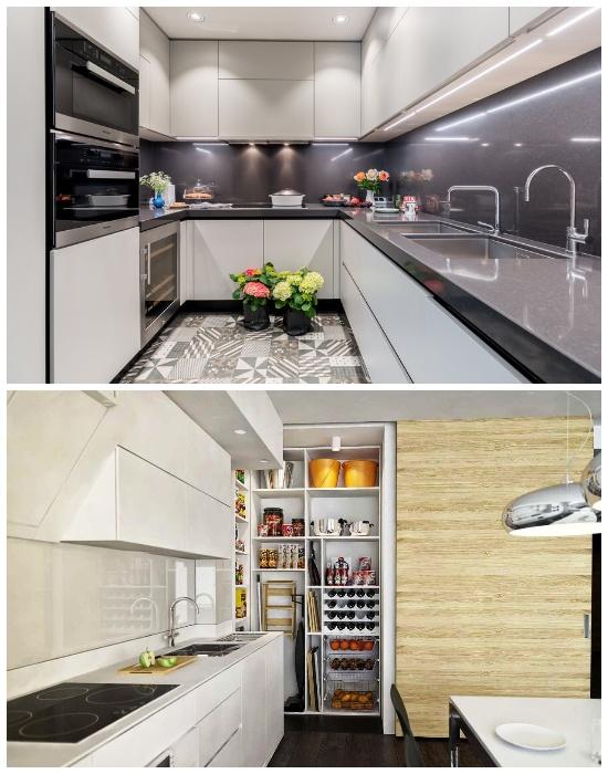 Встроенные места хранения на кухне помогут содержать ее в чистоте.| Фото:  s-kupe.com.