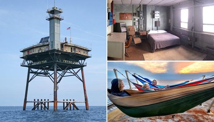 Вертолетная платформа с башней-маяком, принадлежавшая ВМФ США, превратилась в гостиницу для экстремалов. | Фото: wbdiving.com/ atlasobscura.com.