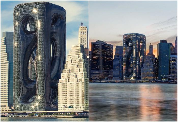 Мышечные волокна вдохновили турецких архитекторов на создание эксцентричного небоскреба в Нью-Йорке (концепт Sarcostyle Tower).