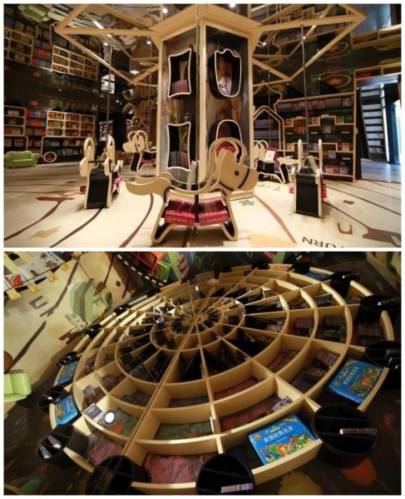 Стилизованные под карусели и колесо обозрения книжные полки в детской зоне магазина (Книжный магазин в Ханчжоу, Китай). | Фото: blogspot.com.