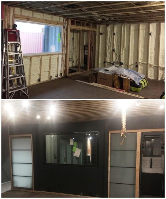 Чтобы увеличить пространство на некоторых уровнях были убраны внутренние стенки контейнеров (McGowen Container House). bionicweapon.wordpress.com.