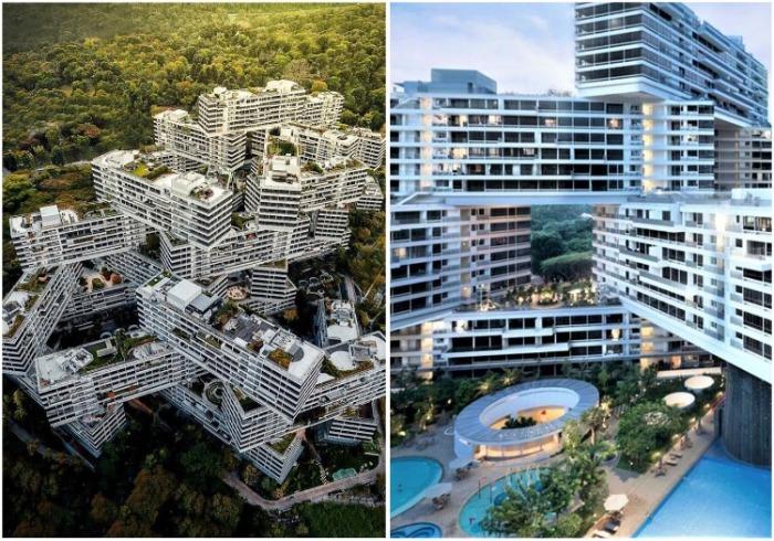 Дом спроектирован с учетом природных факторов, которые помогают в естественном кондиционировании воздуха (ЖК «Interlace», Сингапур). | Фото: pinterest.com.