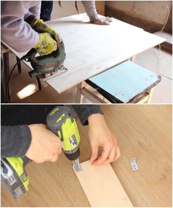 Фанеру нужно распилить с помощью электролобзика, зашкурить все элементы и собрать ящики.   Фото: youtube.com/ Bubenitta.