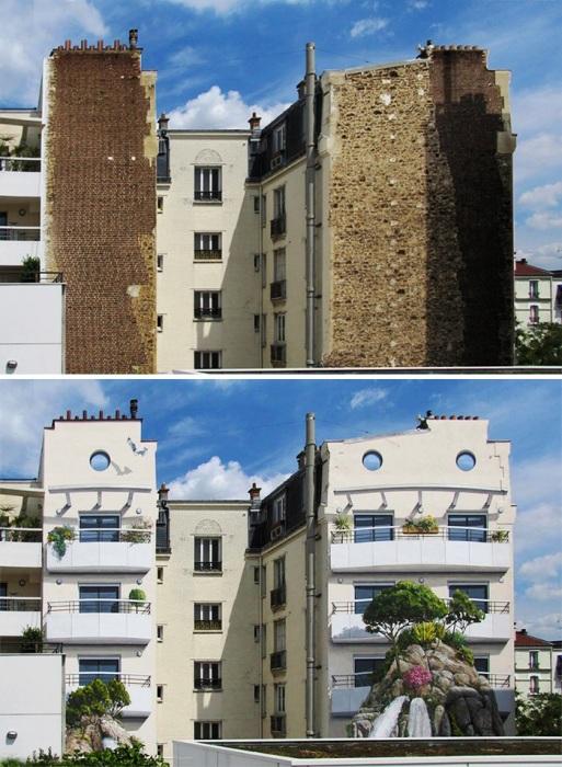 Даже самое заурядное и обшарпанное здание высокое искусство способно превратить в шикарный особняк (Patrick Commecy & A.Fresco).   Фото: boredpanda.com.