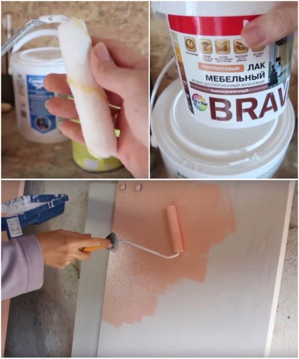 Чтобы обновить старую мебель понадобится краска нужного оттенка, мебельный лак и велюровый валик. | Фото: youtube.com/ Bubenitta.