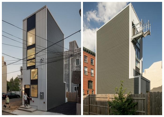 Целые пятиэтажные апартаменты удалось построить между домами в престижном районе города (Tiny Tower, Филадельфия).