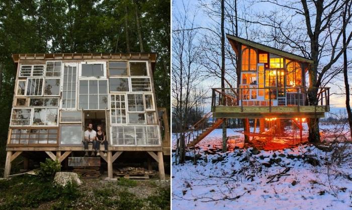 В целях экономии, домик можно сделать из старых окон.