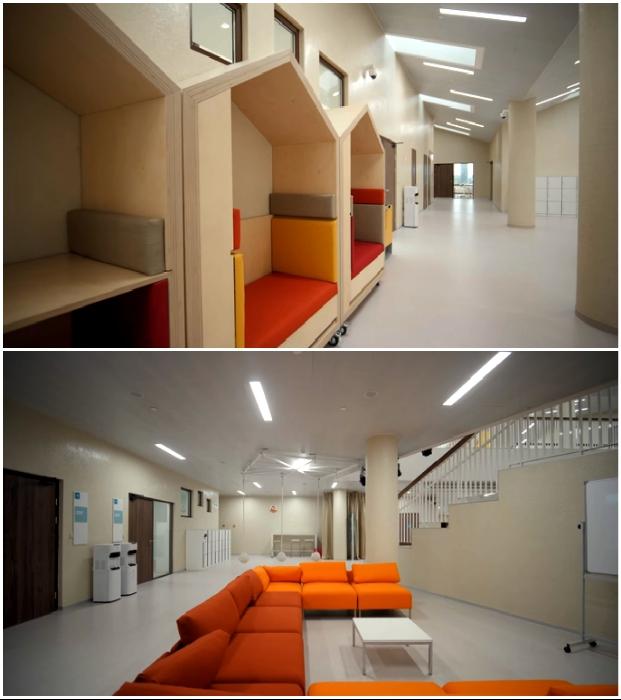 Общественные зоны позволяют не только побегать на переменках, но и пообщаться на комфортных диванах («Точка будущего», Иркутск).