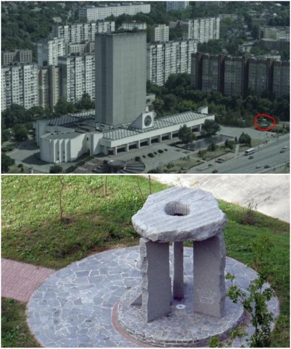 В кадр вошел памятник ликвидаторам чернобыльской аварии, установленный в Голосеевском районе в 2011 г (Киев). | Фото: fakty.ua.