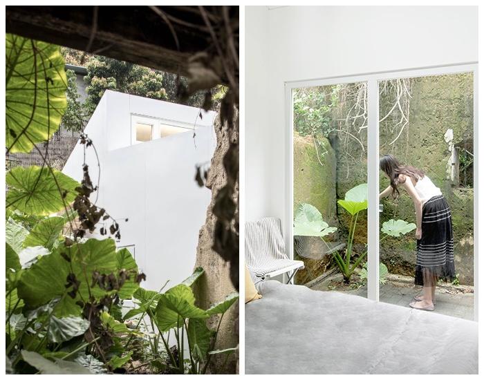 Возле каждого модульного дома организовали внутренний двор и посадили растения (Plugin House, Китай). | Фото: newatlas.com.