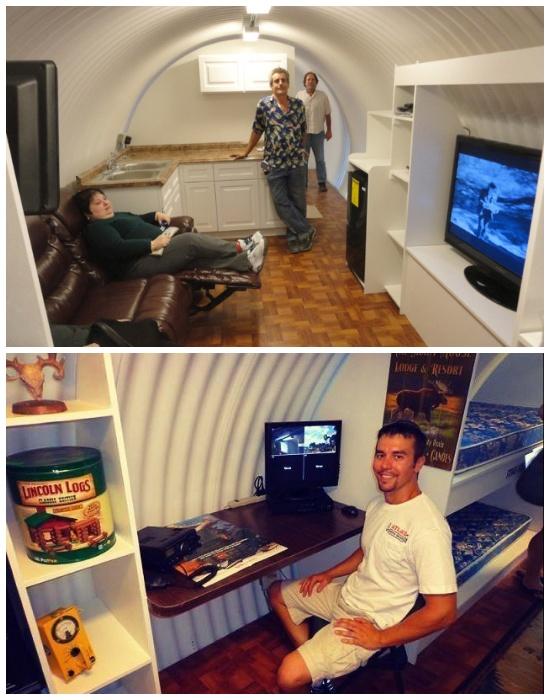 В подземном бункере можно установить телевизор, провести интернет и иметь все необходимое на несколько недель.
