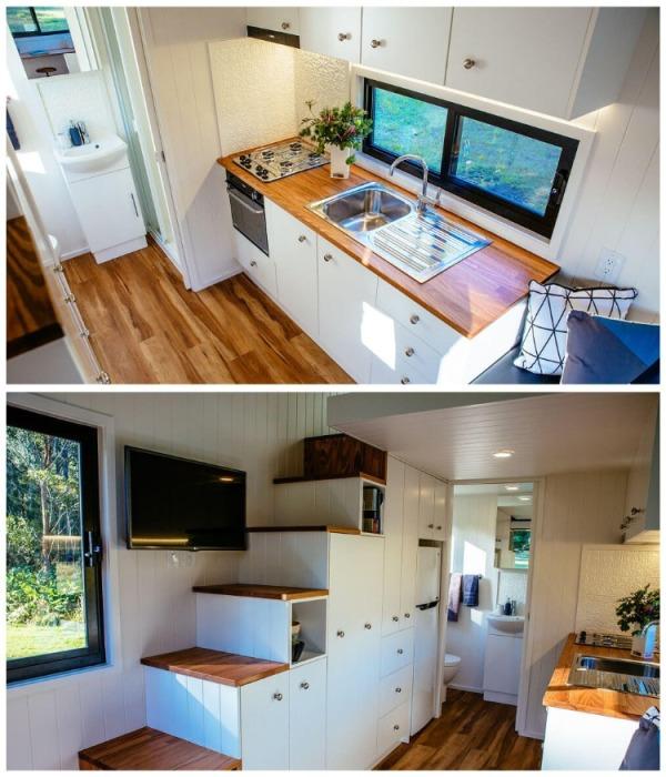 На этой кухне все необходимое всегда будет под рукой. | Фото: designerecotinyhomes.com.au.
