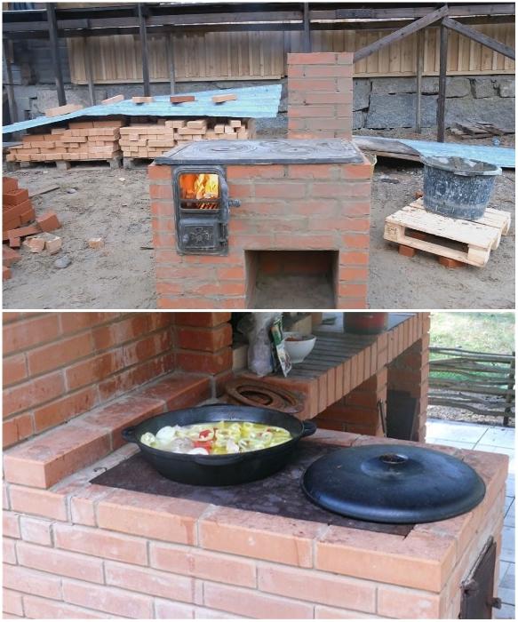 Уличная печь с варочной поверхностью – самый простой вариант создания очага. | Фото: decorwind.ru/ youtube.com.