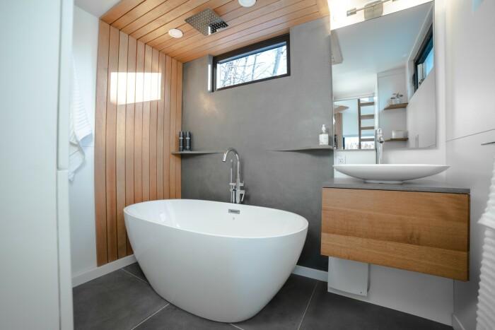 Роскошная ванная комната с полноразмерной ванной, зеркалом с подогревом и тропическим душем. | Фото: newatlas.com.