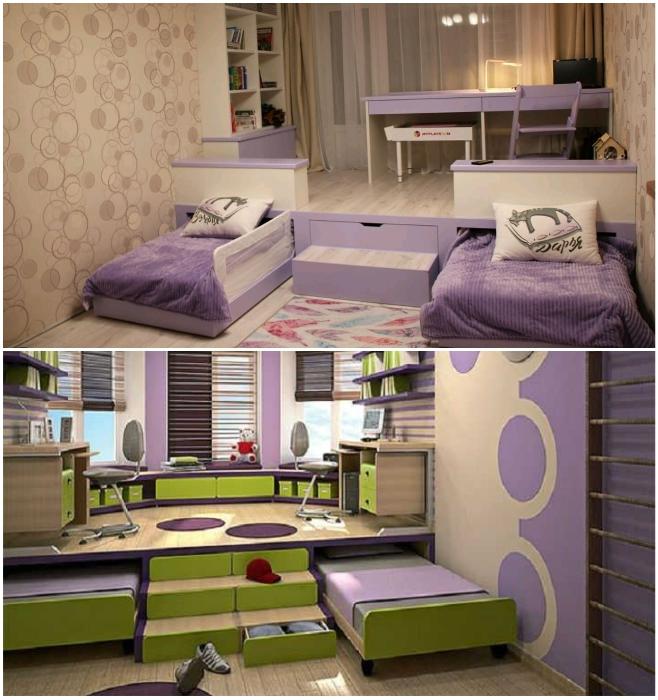 Организация пространства в детской комнате с помощью подиума. | Фото: dizainexpert.ru/ mykaleidoscope.ru.