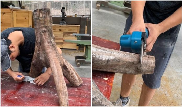 Для выравнивания ответвлений ствола дерева лучше использовать уровень.