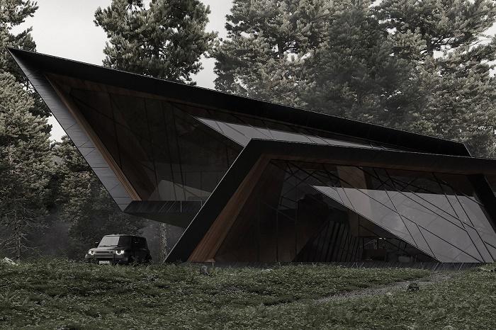 Сразу и не определишь, с какой стороны вход (концепт Blackbird Cabin). | Фото: stipfold.ge.