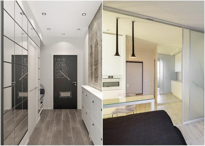 Зеркальная площадь стены или фасад шкафа-купе поможет визуально увеличить площадь комнаты вдвое. | Фото: abkhazeti.ru.
