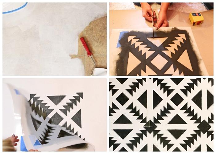 Старую напольную плитку можно преобразить до неузнаваемости с помощью краски и трафарета. | Фото: hometalk.com.