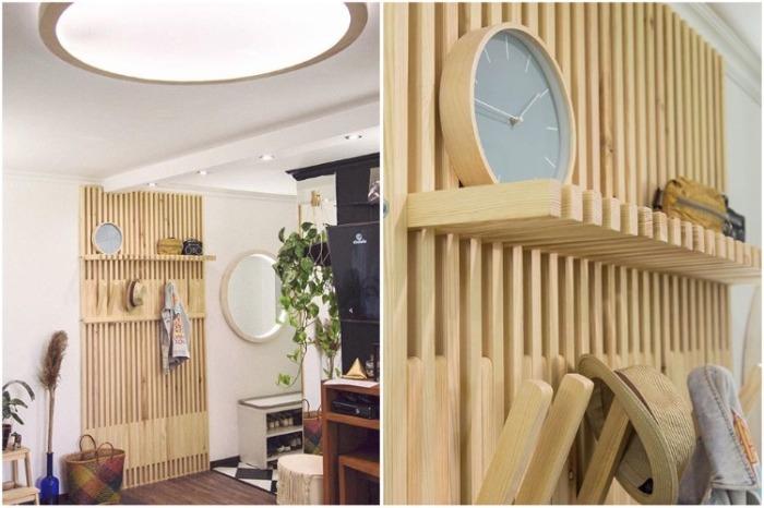 Оригинальная деревянная вешалка заменила громоздкие шкафы в прихожей. | Фото: instagram.com/ oksanamatyash.