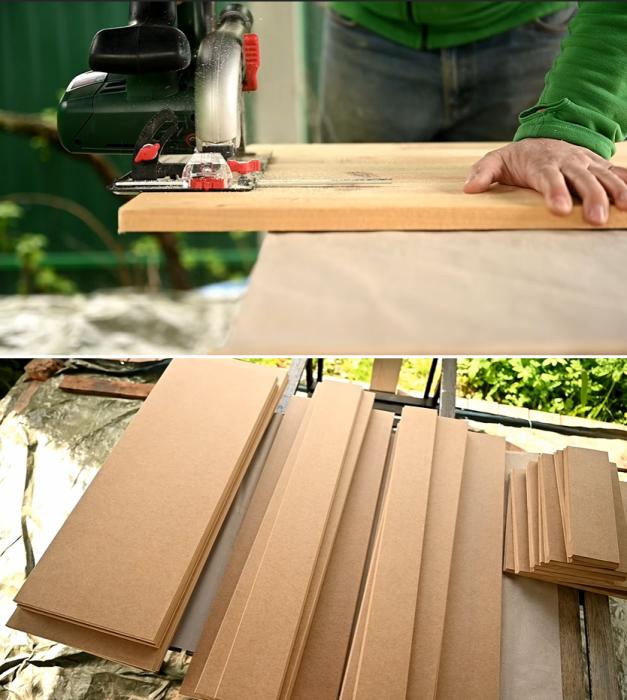 Для начала следует раскроить материал и вырезать необходимые детали. | Фото: youtube.com / © My DIY life.