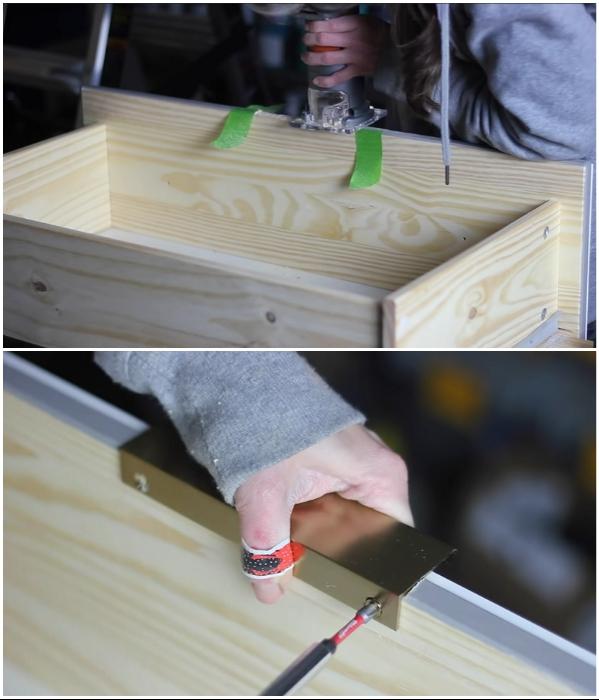 Чтобы прикрепить накладные латунные ручки, нужно сделать углубление на фасаде ящика. | Фото: youtube.com/ © Erin Spain.