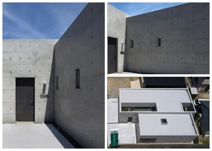 Монолитный бетонный «House in Shime» имеет лишь два крошечных окна, узкий открытый пролет над внутренним двором и входную дверь (Фукуока, Япония).