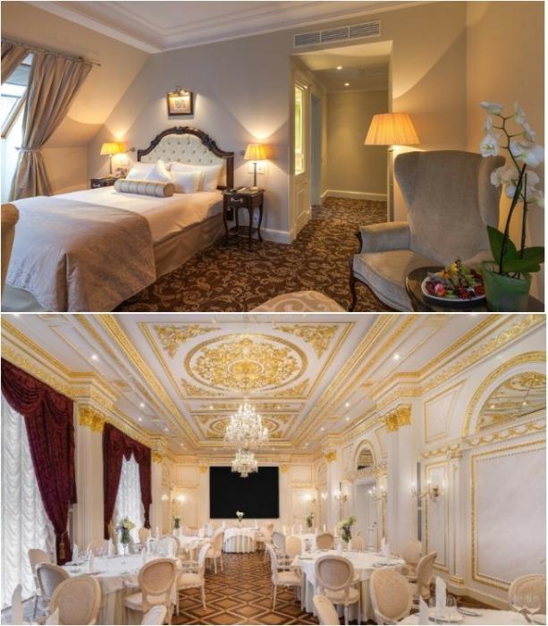 Интерьер гостиницы выполнен в стиле ампир, рококо и барокко. | Фото: thehermitagehotel.ru.