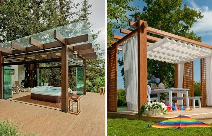 Беседки-перголы и беседки накрытые стеклом создадут изысканный ландшафт. | Фото: idei-dekoru.com.