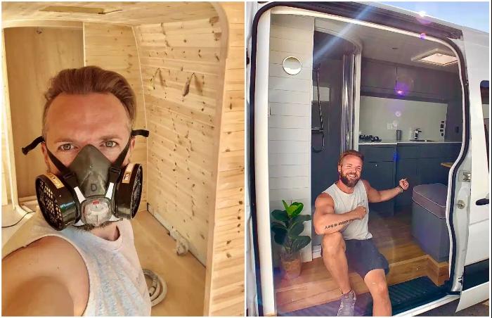 Мебельщик Дэрил Ллойд Витт из Фрома потратил три месяца, чтобы превратить Mercedes Sprinter в дом своей мечты. | Фото: thesun.co.uk