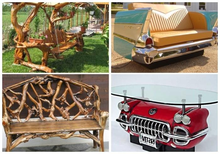 Садовую мебель можно сделать из самых неожиданных предметов и материалов.