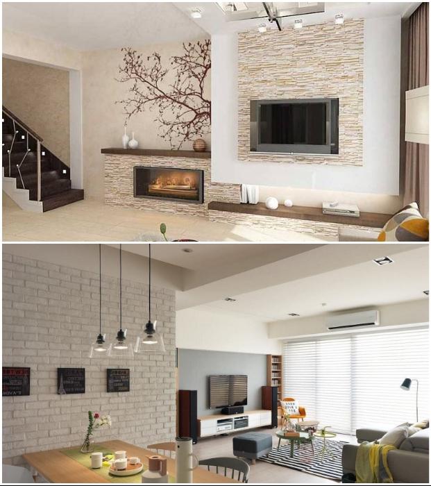 Дорогой мрамор легко заменить декоративным камнем или кирпичом, которые можно сделать и самостоятельно.