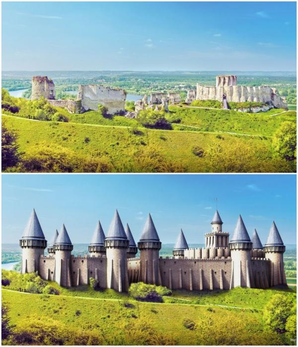 Руины и цифровая реконструкция замка-крепости Шато-Гайар в Лез-Андели (Франция). | Фото: boredpanda.com/ © budgetdirect.