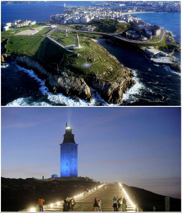 Самый древний маяк мира стал визитной карточкой испанского городка Ла-Корунья («Башня Геркулеса», Испания). | Фото: lifeglobe.net/ costablancalive.es.