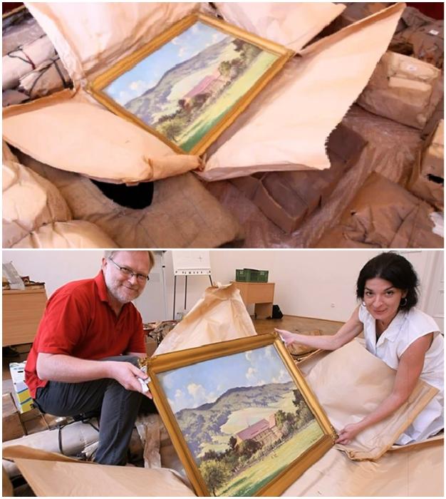 Среди личных вещей семьи Шлаттнеров были найдены картины Йозефа Стегалла. © Posnavatel TV.