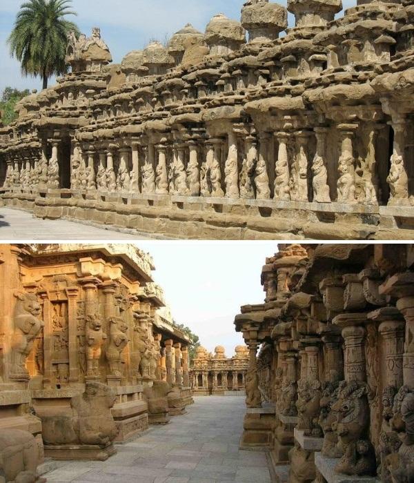 Среди паломников существует поверье, что подходить к колоннам нужно слева направо, чтобы увидеть даже скрытые символы, вырезанные на каждой из четырех сторон (Kailasanatha, Индия). | Фото: pikabu.ru.