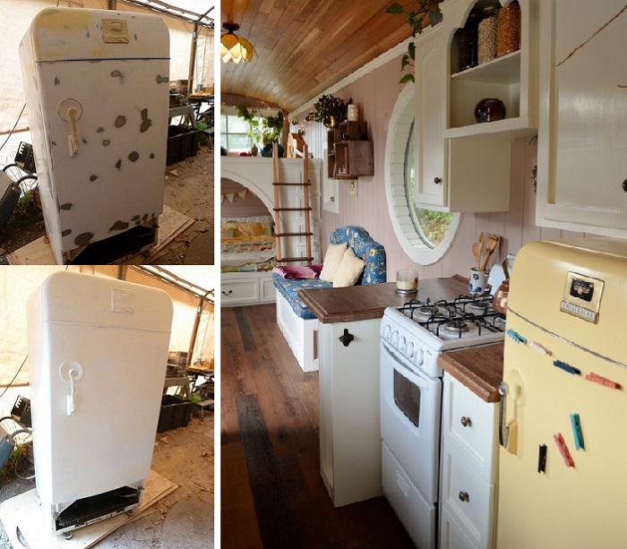 И даже старый холодильник преобразили до неузнаваемости.