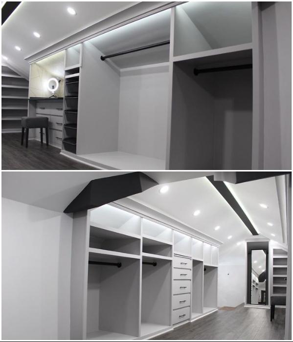 В процессе реорганизации чердачного пространство удалось создать вместительные шкафы. | Фото: aworkstation.com.