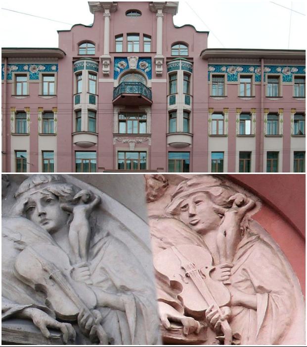 Лепной декор на здании доходного дома Бадаева в Санкт-Петербурге тоже под угрозой. | Фото: antikzone.ru/ realt.onliner.by.