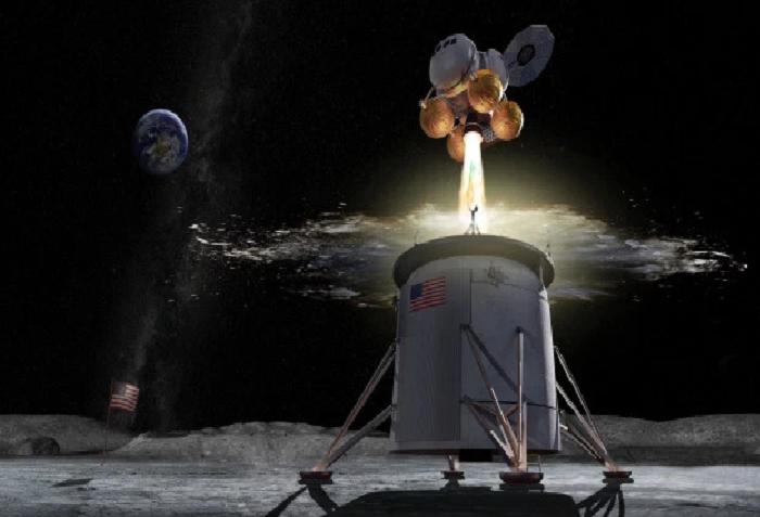 В рамках программы «Artemis» НАСА построит «посадочную площадку», чтобы доставлять астронавтов на Луну и обратно (визуализация). | Фото: the-sun.com.