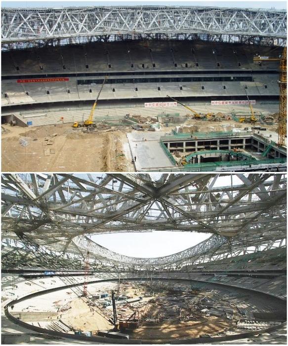 Строительство стадиона заняло 5 лет («Птичье гнездо», Пекин). | Фото: stadiums.at.ua.