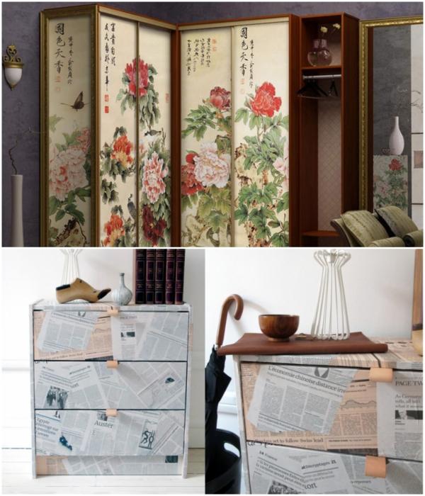 Декупаж мебели можно делать обоями и даже газетами. | Фото: lustrix.ru/ designstilno.ru.