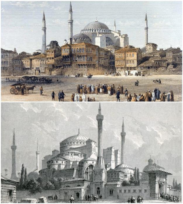Во все времена собор Святой Софии привлекал внимание неординарными архитектурными формами и масштабом (Стамбул, Турция).