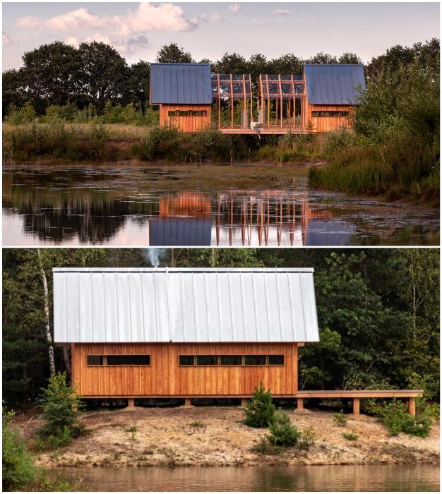 Дом-трансформер можно не только раздвинуть по центру, но и сместить в любую сторону платформы (Cabin ANNA).