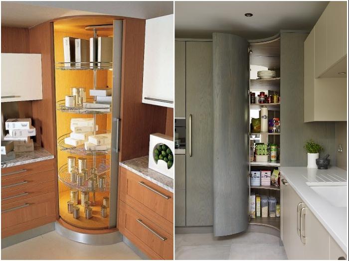 Углы в кухне можно задействовать с помощью полноценных шкафов-кладовых. | Фото: kvant-dizain.ru/ pinterest.ca.