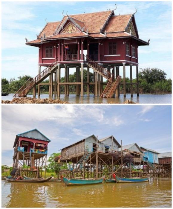 В Камбодже на сваях расположены целые деревни. | Фото: mymodernmet.com/ o-buddizme.ru.