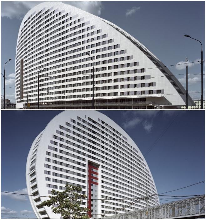 С какой стороны на этот дом не посмотри – он вызывает лишь восхищение мастерством архитекторов и инженеров (ул. Гризодубовой №2, Москва). | Фото: teleprogramma.pro/ layton.ru.