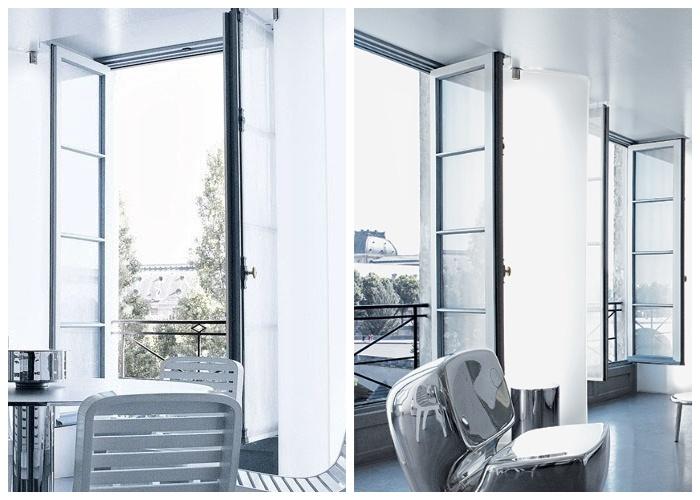 Огромные окна обеспечили хорошее естественное освещение, что создало идеальные условия для творчества модельера (квартира Карла Лагерфельда, Париж).